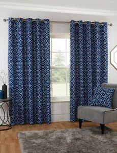 Kelso Ready Made Curtains Navy - Lined Eyelet Heading Washable