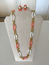 Gorgeous Miriam Haskell Russian Gold Coral White Rings Necklace Earrings Set