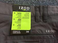NWT Men's IZOD GOLF Shorts 38 new Dark Grey Straight Fit PLEATED
