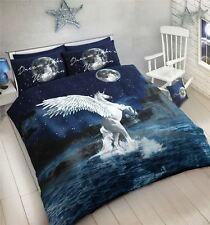 Einhorn Dream Ocean Waves Blau Weiss Doppelbett Bettwäsche