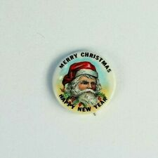 Antique Santa Claus Christmas Celluloid Pin Back Button Merry Christmas New Year
