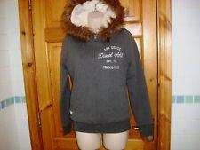 Women grey Diesel Full Zip Hoodie Jacket Faux Fur Lined size S super condition