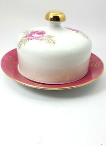 Vtg Round Butter Dish Bowl Ceramic Pink with Cover Floral&Gold Lid Made in GDR