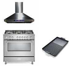 """Verona Designer Series 36"""" All Gas Range Oven 3 pc Package Stainless Steel"""