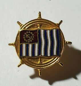 SHIPS WHEEL AND FLAG - RED / WHITE / BLUE / GOLD ENAMEL LAPEL PIN