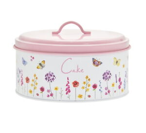 Cake Tin Storage Container Butterfly Garden Cupcake Canister Carrier Metal Round