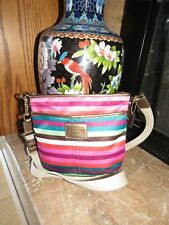 COACH LEGACY STRIPED Bright MULTICOLOR CROSSBODY SWING Shoulder Bag Purse EUC