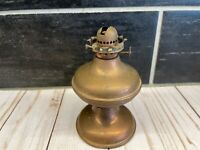 """Vtg Copper Miniature Oil Lamp Base Only Replacement Parts 4 3/4"""" Tall"""