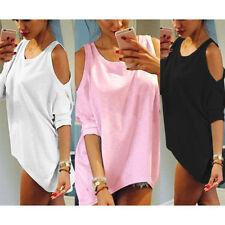 Damen Bluse Top Shirts Schulterfrei Oberteile Kurzarm Tunika T-Shirt 3/4 Arm Top