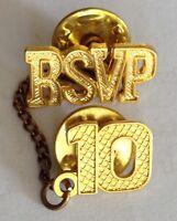 RSVP 10 Golden Pin Badge Rare Vintage (H9)