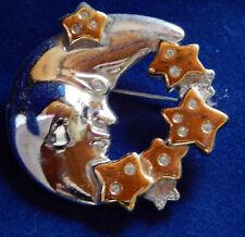 NEU  BROSCHE  Anstecker/silberner Halbmond mit Sternenkranz