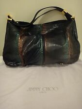 Jimmy Choo Ayse Real Python handbag with black leather and Gold Hardware