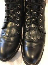 Vtg. Justin Ropers L0506 Black Leather Kiltie Lace-Up Womens Size 6 B Boots USA