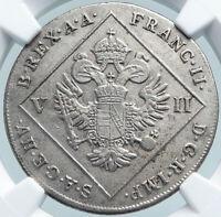 1802 A AUSTRIA Emperor Franz II ANTIQUE Silver 7Kreuzer Austrian Coin NGC i87857