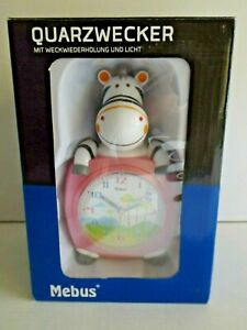 "MEBUS Kinder-Quarzwecker Zebra ""Pink"""