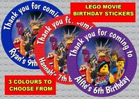 PERSONALISED GLOSSY LEGO MOVIE  BIRTHDAY  PARTY STICKERS SWEET CONE LABELS