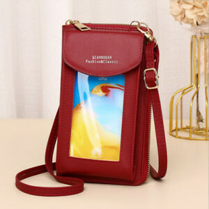 Women Touch Screen RFID Crossbody Cell Phone Bag Wallet Key Pouch Shoulder Purse