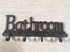 """Bathroom"" Rustic ornate Cast Iron 4 hook wall hook wall Home Decor"
