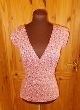 BEN SHERMAN pink cream teal blue-green floral short sleeve tunic top BNWT S 8-10
