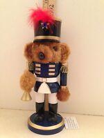 "Soldier Nutcracker Wooden Plush Bear Christmas Holiday Trumpet Decoration 9"""