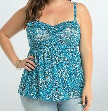 Torrid Floral Ruffle Babydoll Tank Top Shirt Blouse Blue Size 0 Large 12 #13353