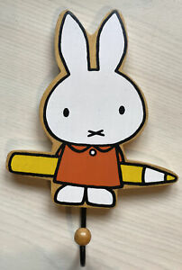Miffy Wooden Hook Clothes Door Peg Illustrated ByDick Bruna 20cm tall, 13cm wide