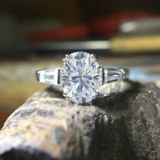 Certified 2.52 Ct White Oval Cut Diamond Solid 14k White Gold Engagement Ring
