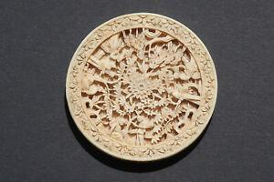 antik China Beinarbeit Bein Beinschnitzerei Hohldesign Relief Ende 19 Jhd