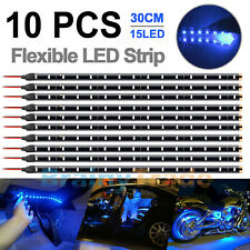 10x 12V 30cm 1FT 15SMD Flexible LED Strip Light Waterproof For Car Truck Boat