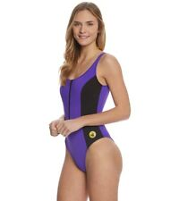 NEW Body Glove 80's Throwback After Time Zip Front One Piece Swimsuit Medium M