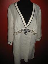 Chico's White Beaded Black Linen Tunic Top Plunging Neckline 3 EUC