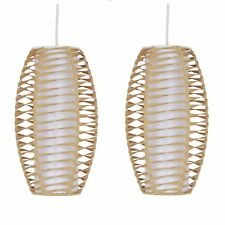 2 x Natural Twist Paper Pendant Ceiling Light Non Electric Light Shade Easy Fit