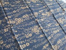 """Vintage Cotton Fabric Blue w White Flowers 2 yds + 8"""" X 35"""" wide"""