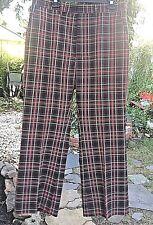 vintage haggar made in usa black tartan plaid poly pants 36x29