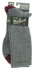 Woolrich Men's Socks Heritage Gray Merino Lambswool Blend Size Large Made In USA