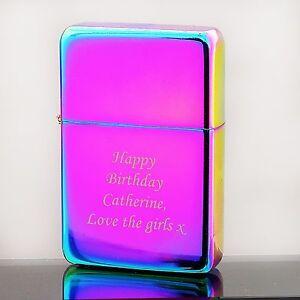 Personalised Engraved Rainbow Lighter - Monotype Corsiva Font - Free ENGRAVING