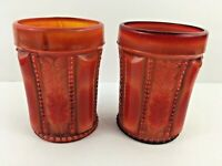 2 Summit Red Slag Glass Holly Tumblers