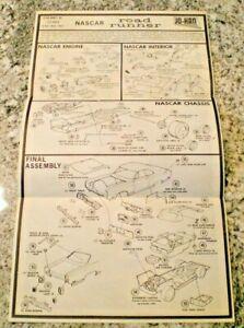 """JO-HAN """"1969 Nascar Road runner """"2nd edition Model Car Instruction sheet"""