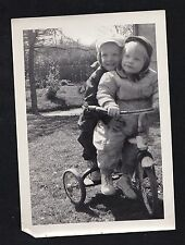 Antique Photograph Two Adorable Babies Riding on Tricycle Bicycle Bike 1954