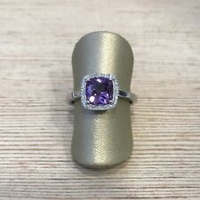 Solid white14k gold and diamond and cushion amethyst halo design engagement ring