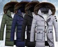 Men's Winter Down Cotton Jacket Fur Collar Warm Slim Outwear Hooded Coats Parka