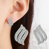 Ladies Hot Elegant 925 Sterling Silver Zircon Angel Wings Ear Stud Earrings