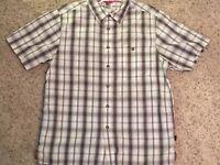 North Face Vintage 90s Sz Med Men's Shirt Short Sleeve Button Down Brown Plaid