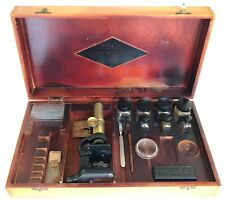 Atco Senior Microscope Set Outfit in Wooden Box 1920's