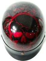 Red Skull DOT Biker Bone Shorty Half Motorcycle Helmet Visor