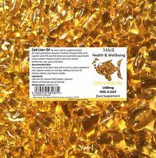 Cod Liver Oil Capsules [365 x 1000mg]  Omega 3 Fatty Acids Vitamin A D Cheapest