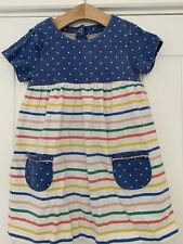 Mini Boden Girls Jersey Stripe Spotted Dress 18-24 Months Baby Toddler