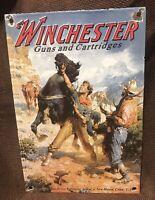 "VINTAGE STYLE WINCHESTER ""GUNS AND CARTRIDGES 12X8 INCH PORCELAIN DEALER SIGN"