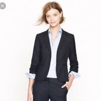 J.Crew Womens Super 120'S Suit Jacket Blazer Size 0 Navy BLue Striped Wool Lined