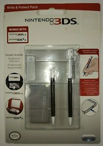 Nintendo 3DS Write And Protect Pack Stylus And Screen Protector  Black   NEW